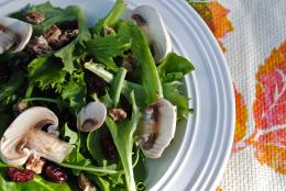 Mushroom, Cranberry and Candied Walnut Salad