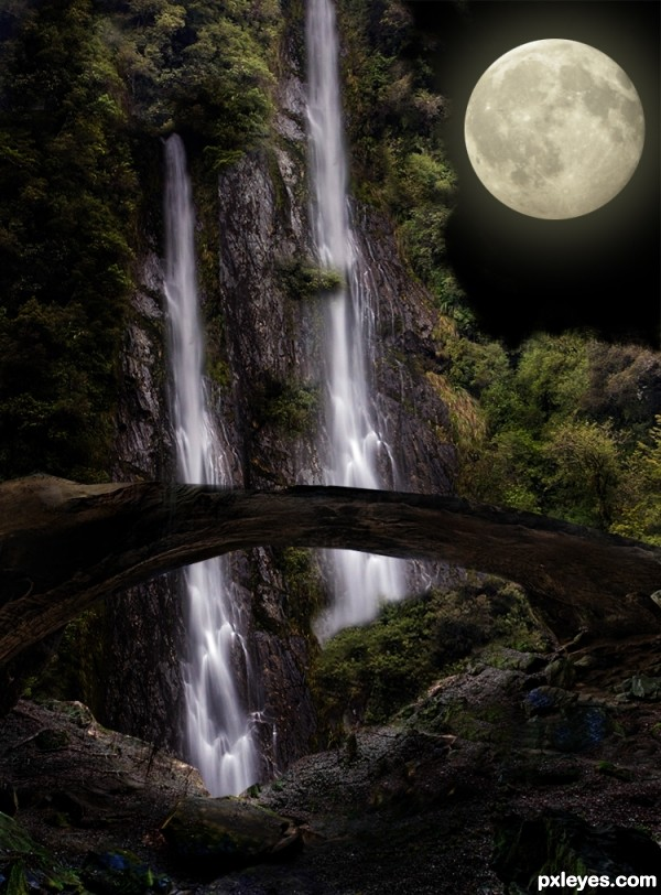 Moonlight Over The Waterfalls