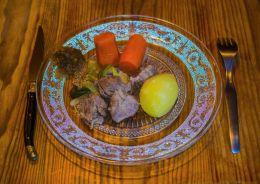 Pork cheeks with shallot chutney