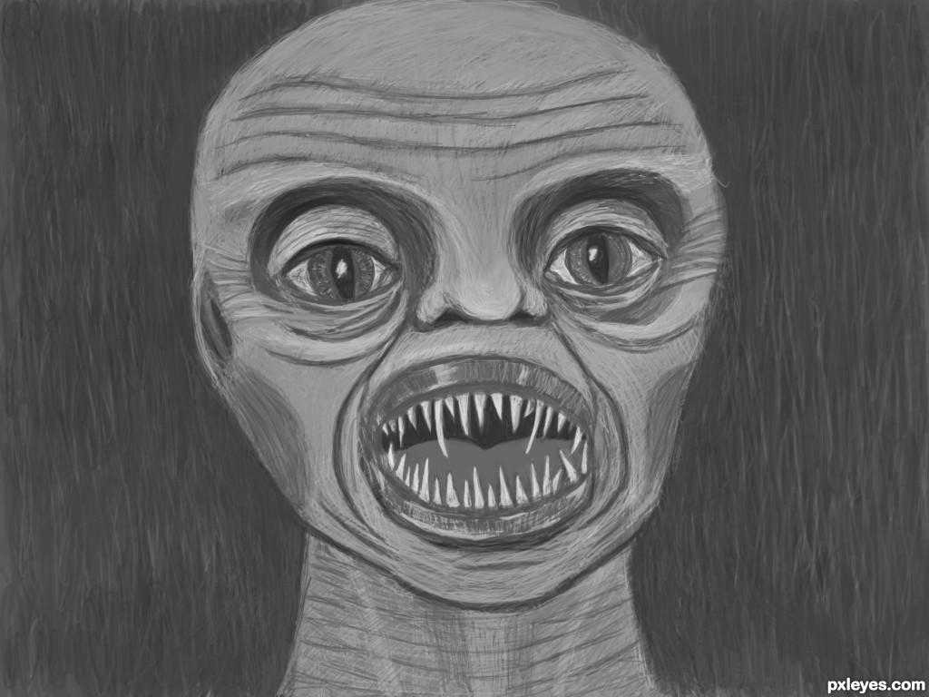 Sharp Teeth Drawing Age Monster