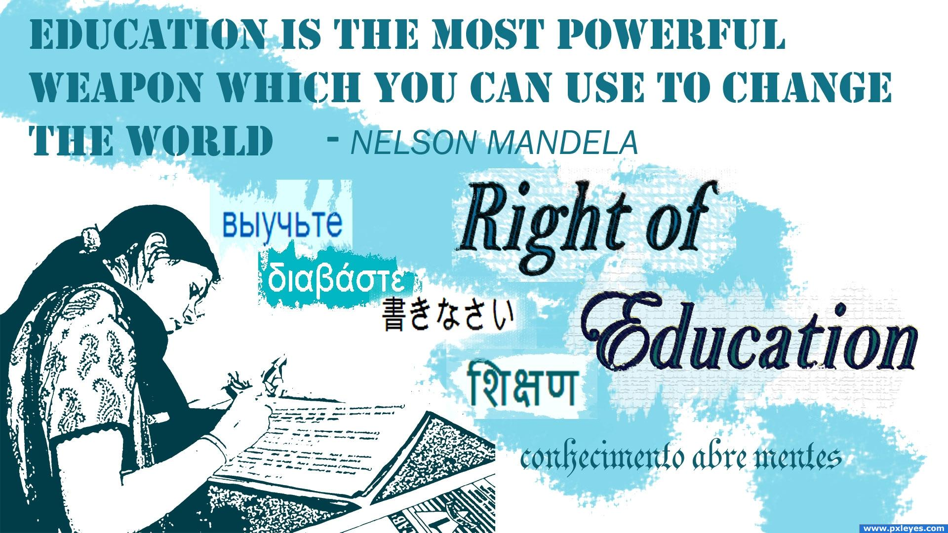 right of education picture, by nehayash for: human rights photoshop