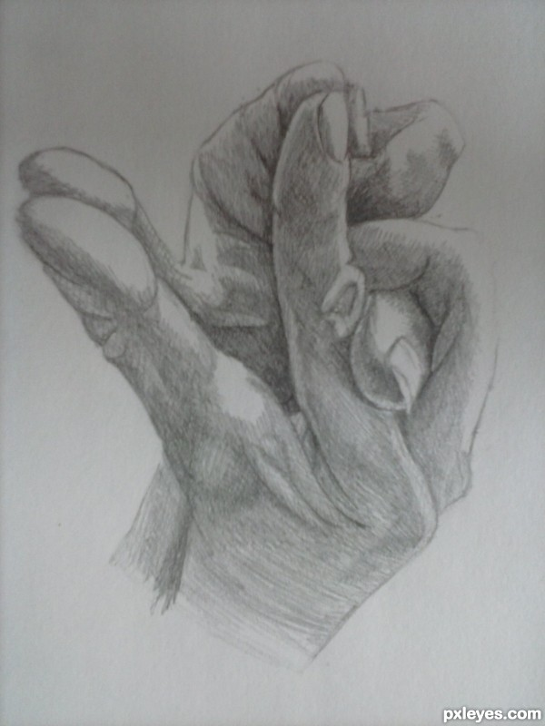 Hands in the shape of a frog.