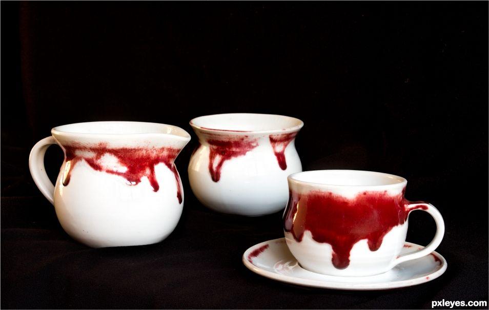 Porcelain with copper reduction glaze
