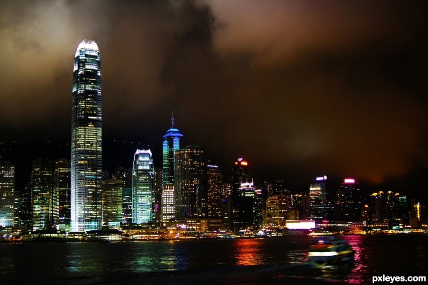 Hong Kong, City of Lights photoshop picture)
