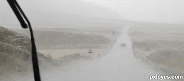 Rain in the Moroccan desert
