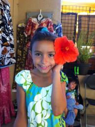 Trinity and her Red Hibiscus