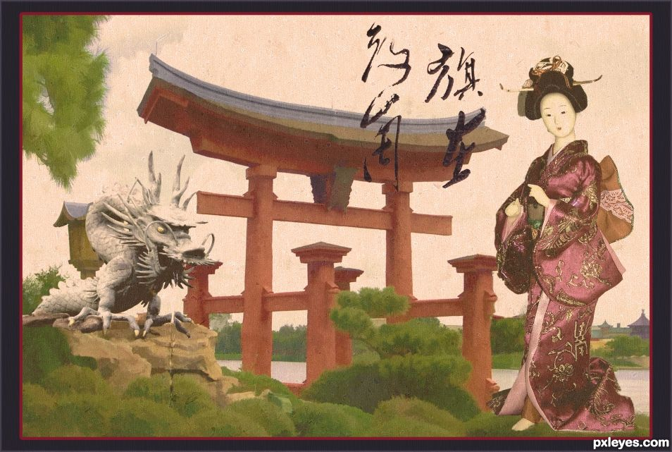 Shrine - Japanese print