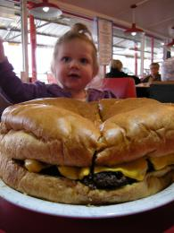 This burger weighs five pounds