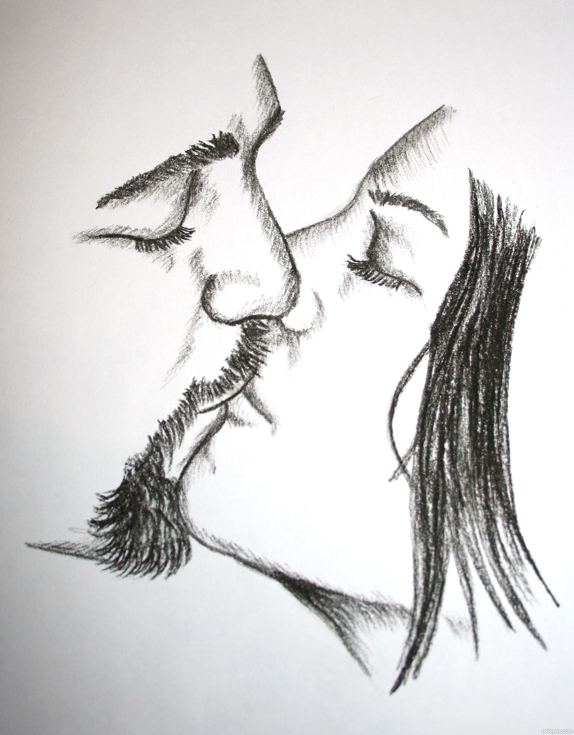 Kissing Drawing Drawing Couple Kissing