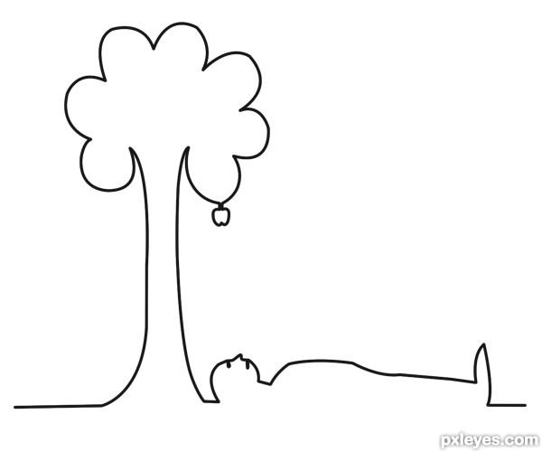 Newton below apple tree !!