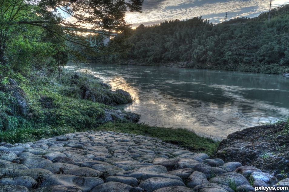 Evening by the Kiso River