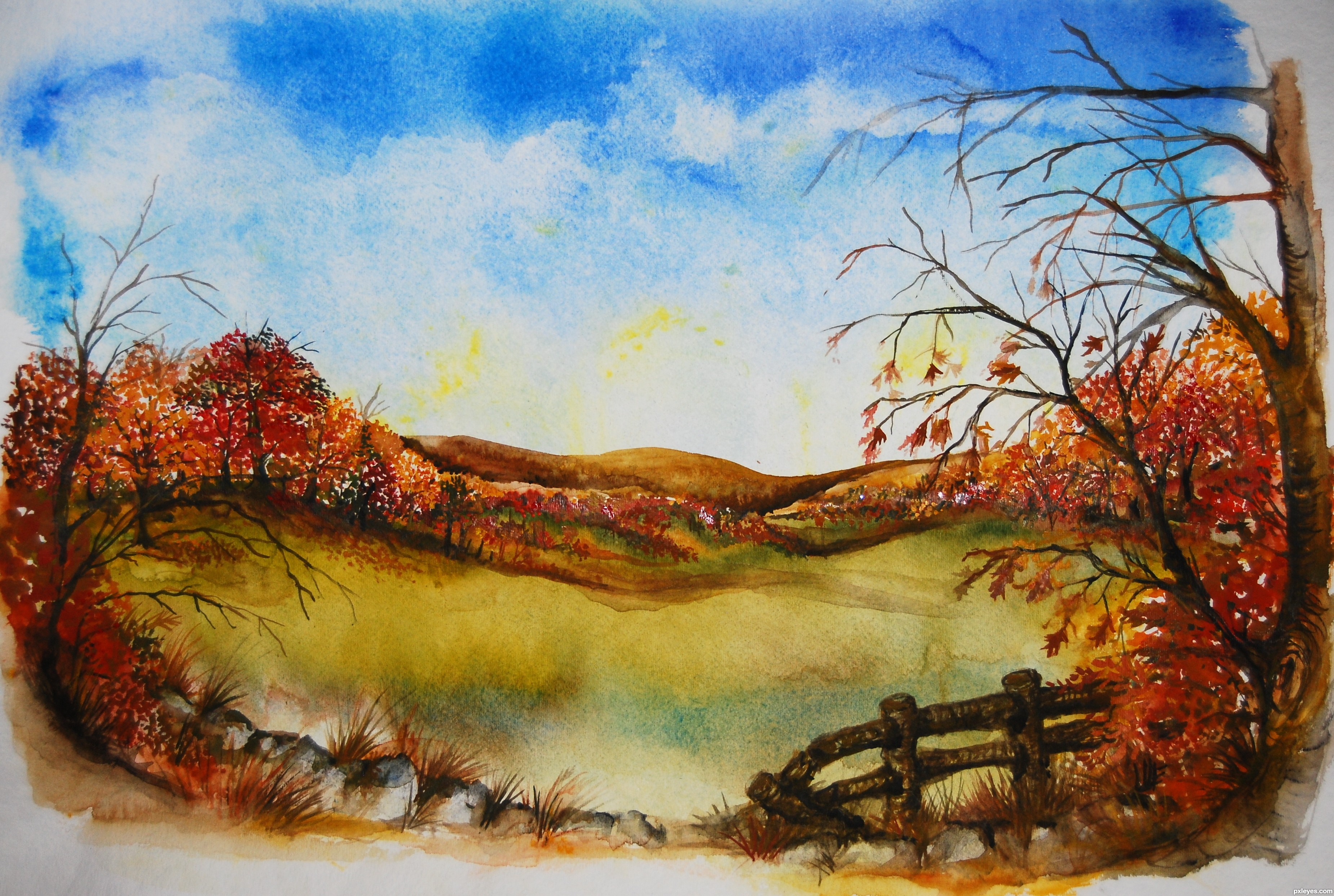 Autumn Landscape Drawing Autumn Afternoon Created by