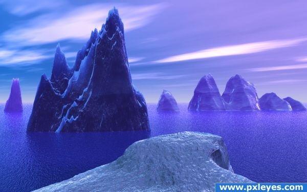 Purple and Blue Icebergs