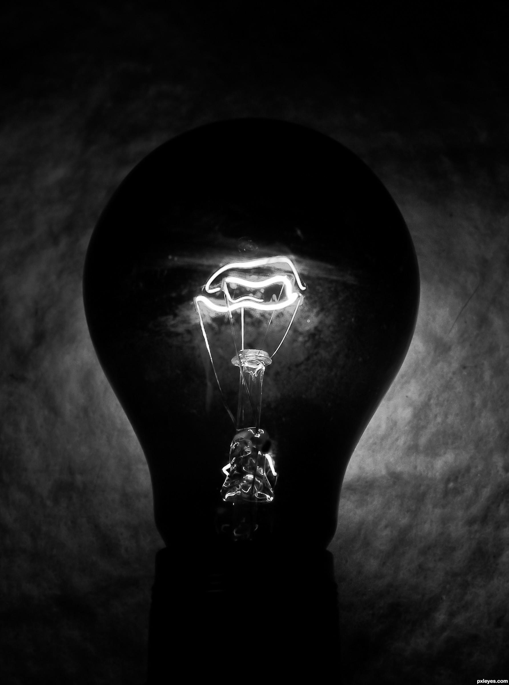 Dark room with light bulb - Dark Matter Created By Kyricom