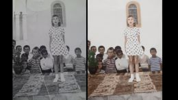 black and white photo taken in 1974 at Trikorfo village in Greece colored and retouched