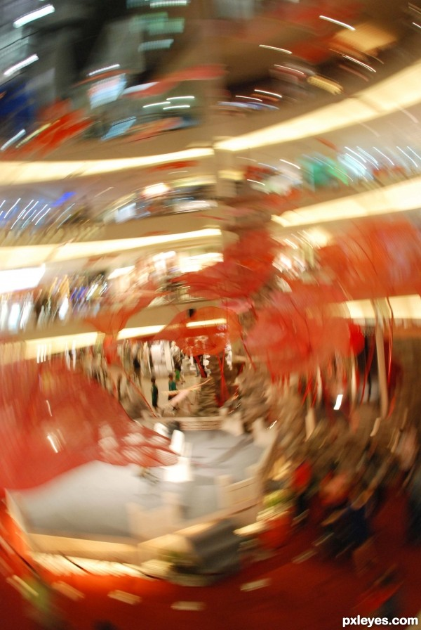 motion blur in shopping mall