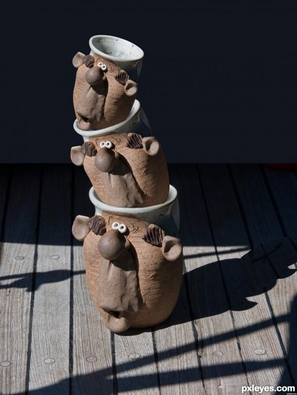 3 mugs of S, M, L size