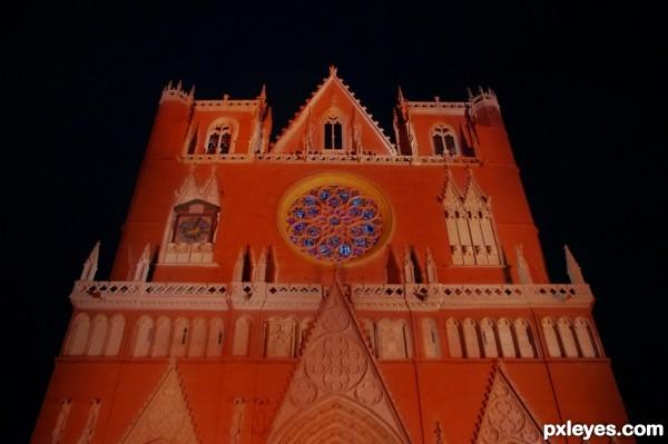Floodlit church