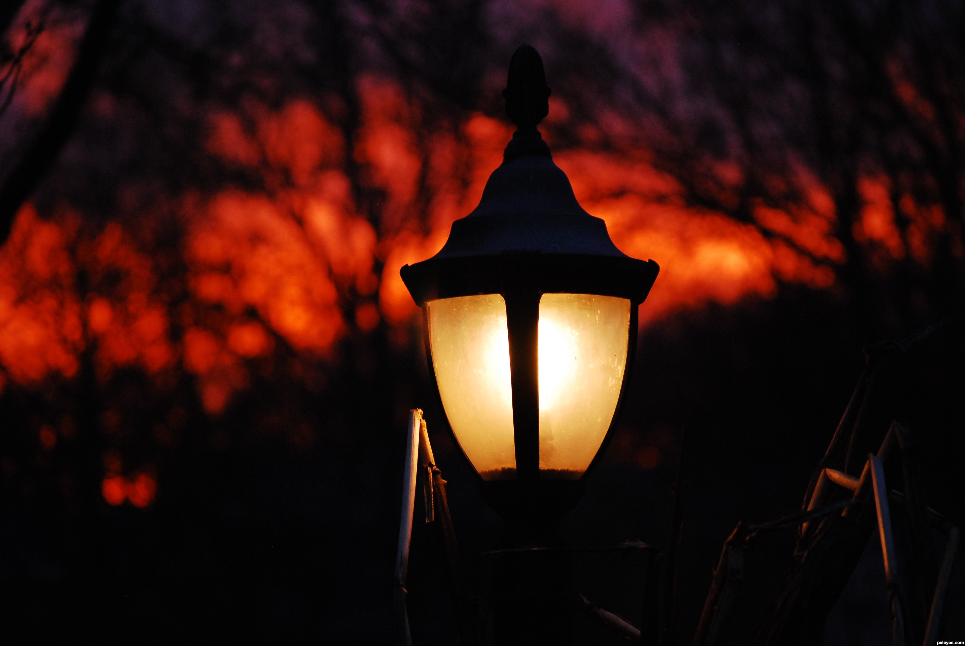 sunset house lamp picture, by Momof4boyoboys for: night lights ... for Night Lamp Photography  lp5fsj