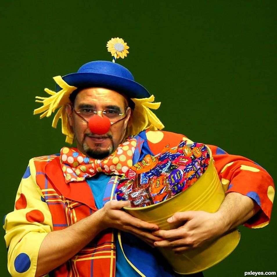 Clown offering candy