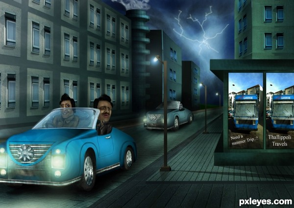 a ride at night....... photoshop picture)