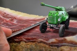 Tractor Tank Parked on Slicing Bacon Platform