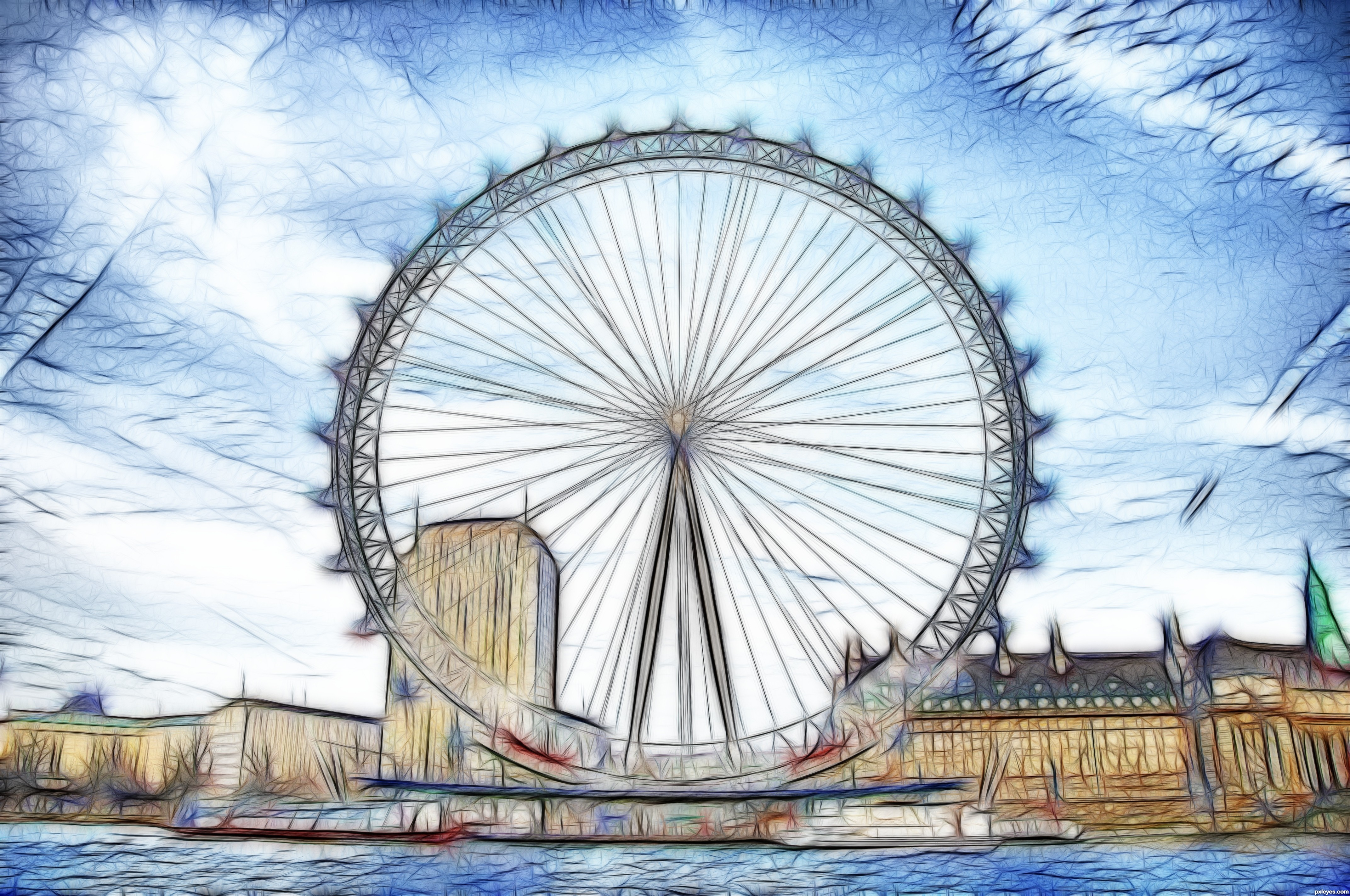 london eye drawing