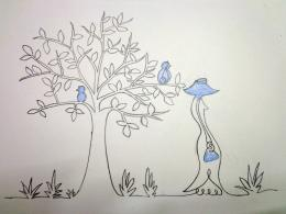 Senorita and the little birds... Picture