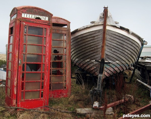 Telephone Boxes in Boatyard