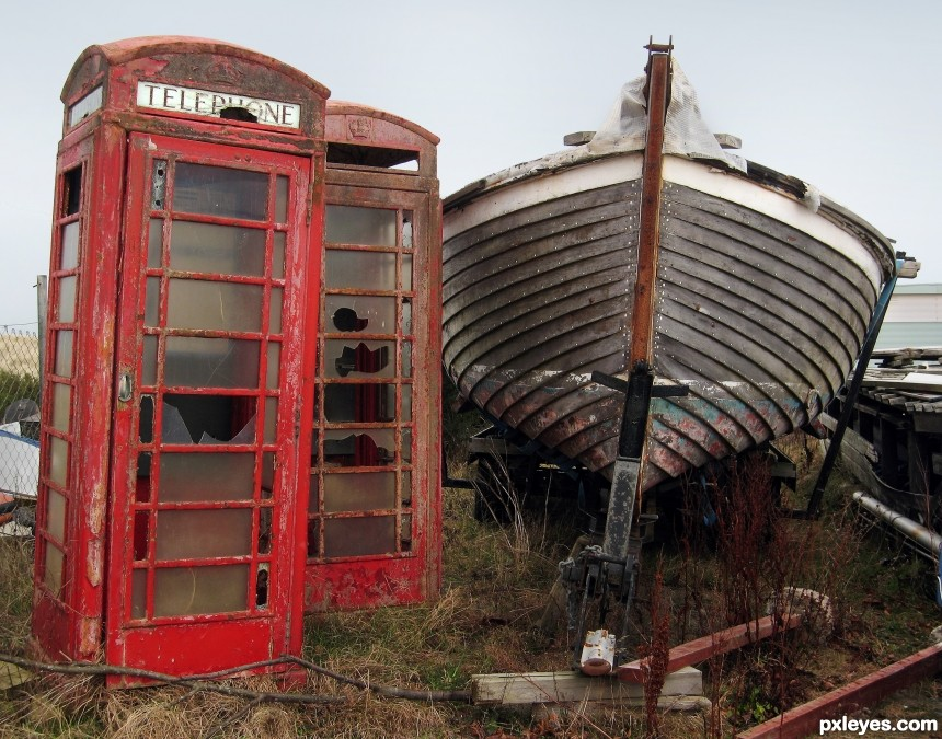 Telephone Boxes in Boatyard photoshop picture)