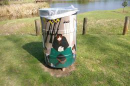 Painted Trash Bin