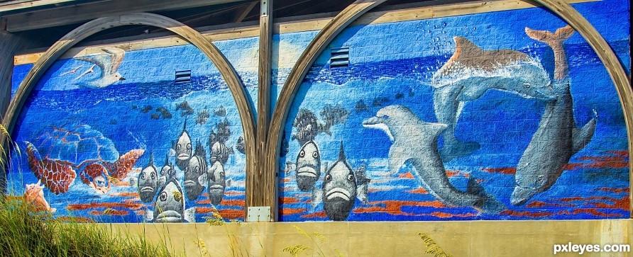 beach pier wall