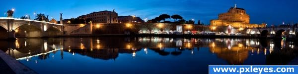 Blue hour in Rome photoshop picture