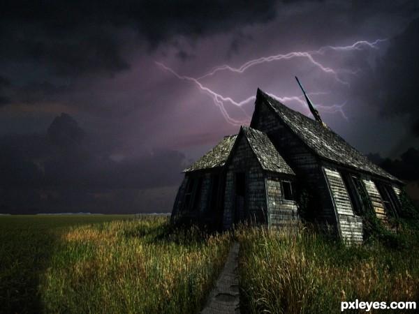 photoshop guide  making  spooky house  pxleyescom