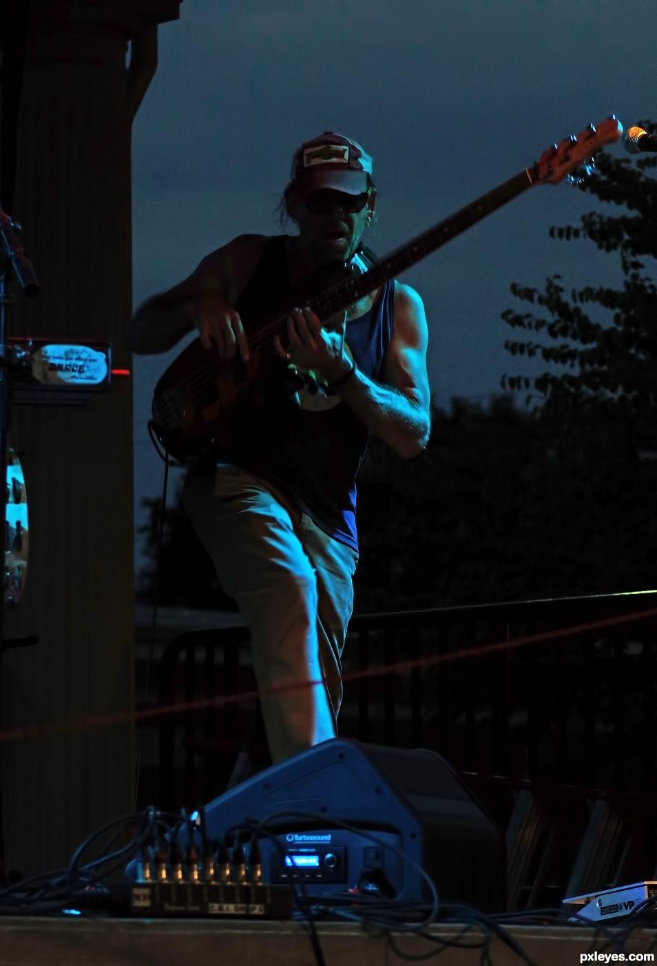 Jammin at Night Under Blue Lights