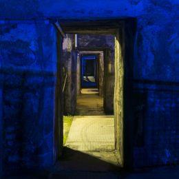 blueandyellowilluminatedcorridor