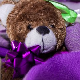 TeddyBearWrappedinPurpleScarf
