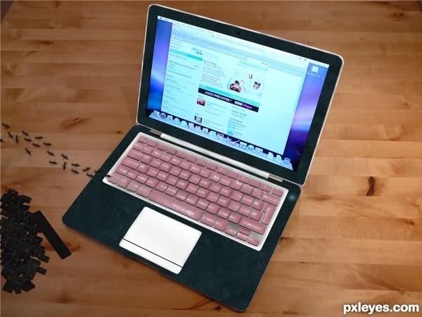 Mac with Gum Keyboard