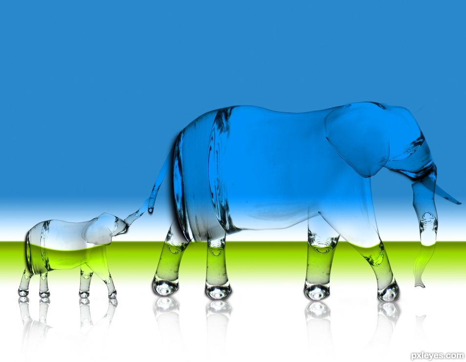 Elephants made out of glass