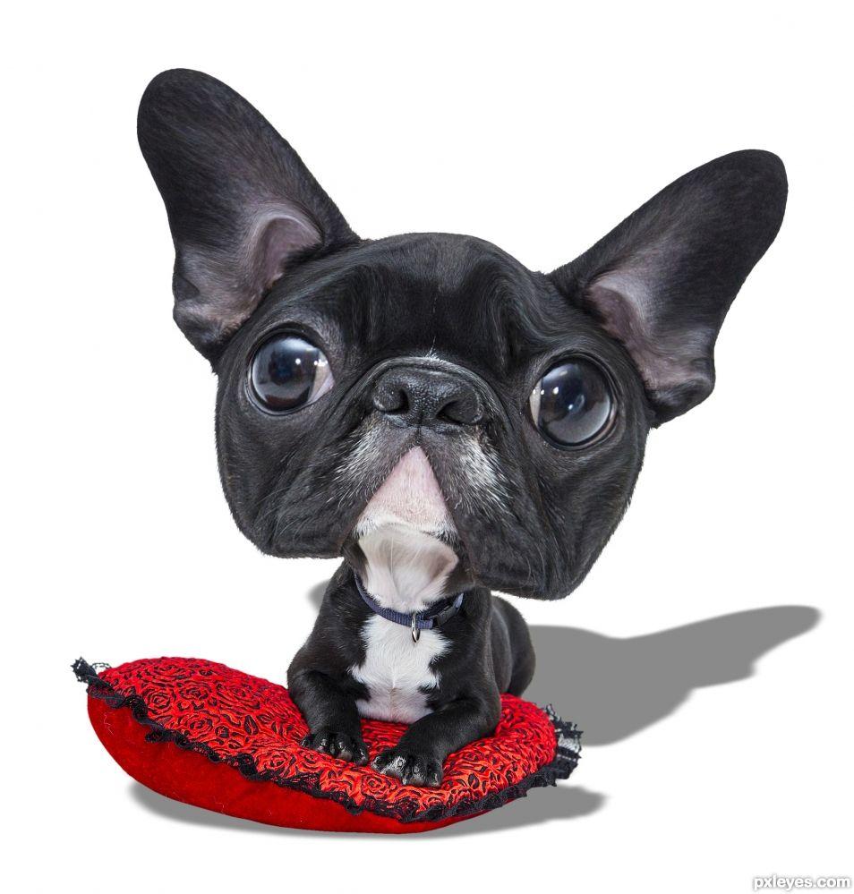 Caricature of a black puppy