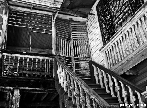 old wooden railings