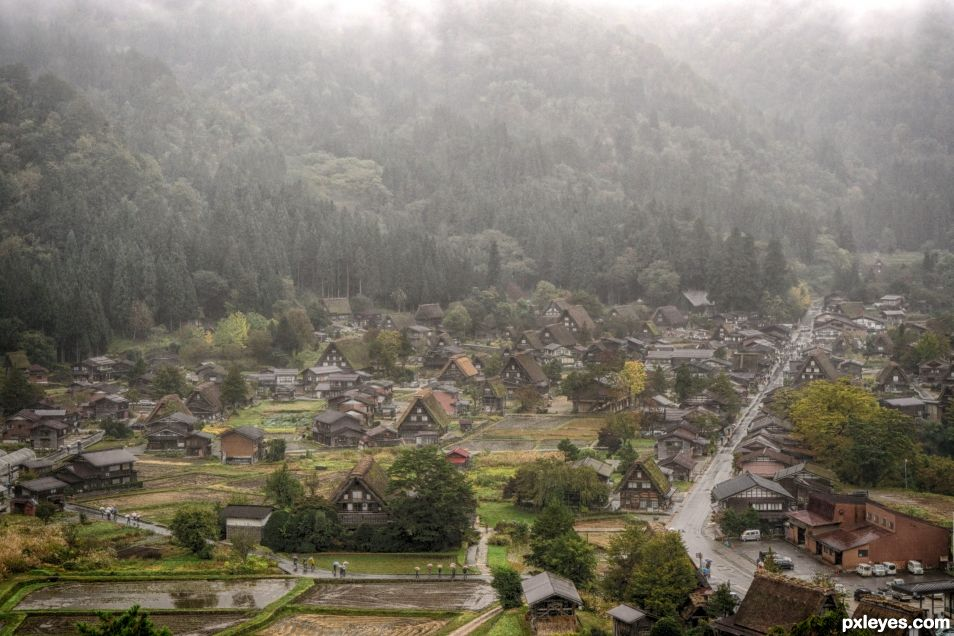 Shirakawa in the Rain