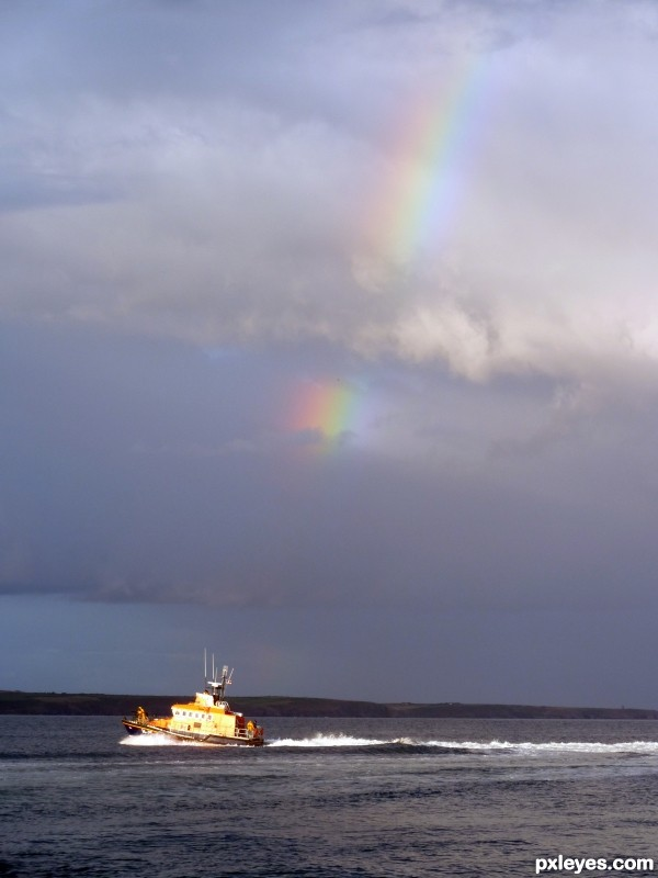 Lifeboat under the rainbow