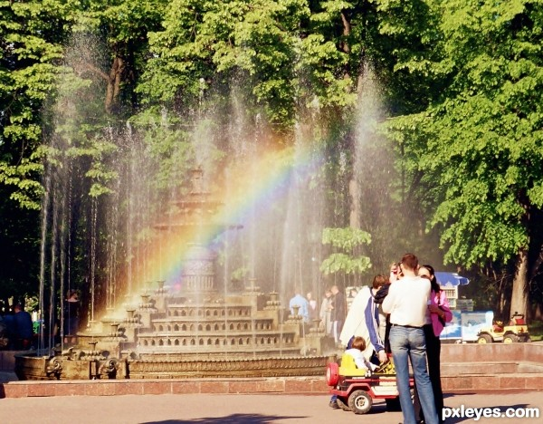 The rainbow takes a shower