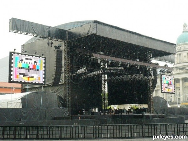 F1 padang stage area in rainy mode