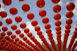 red chinese new year lanterns Picture