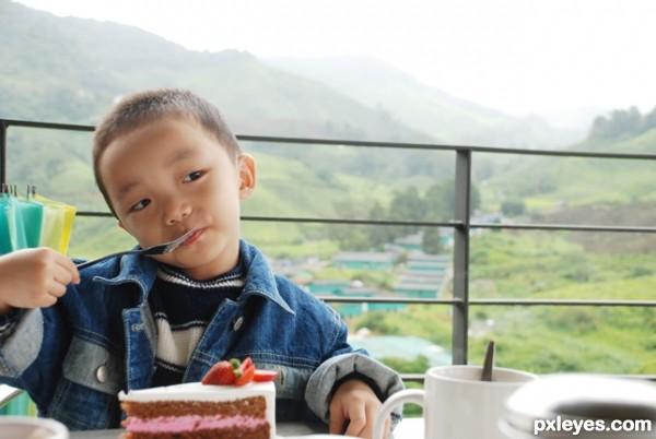 eating cake at hill restaurant