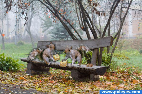 squirrels playing dice