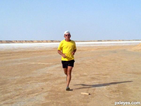 Jogging in desert