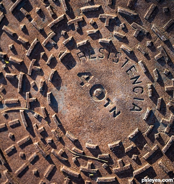 Rusted manhole cover